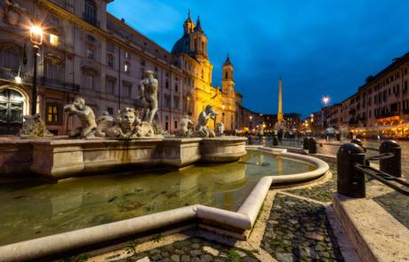 Piazza Navona Rome avond blauwe uurtje fotograferen