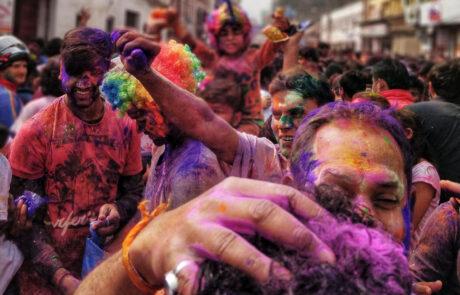 Holi Festival fotograferen in Kathmandu Nepal