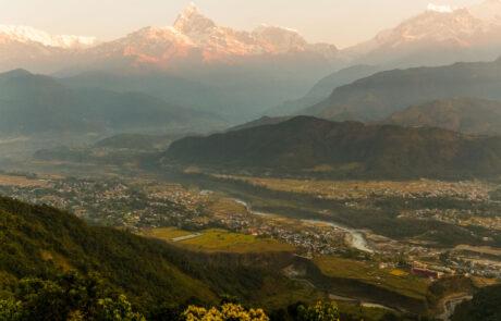 Uitzicht Pokhara Himalaya fotografie reizen